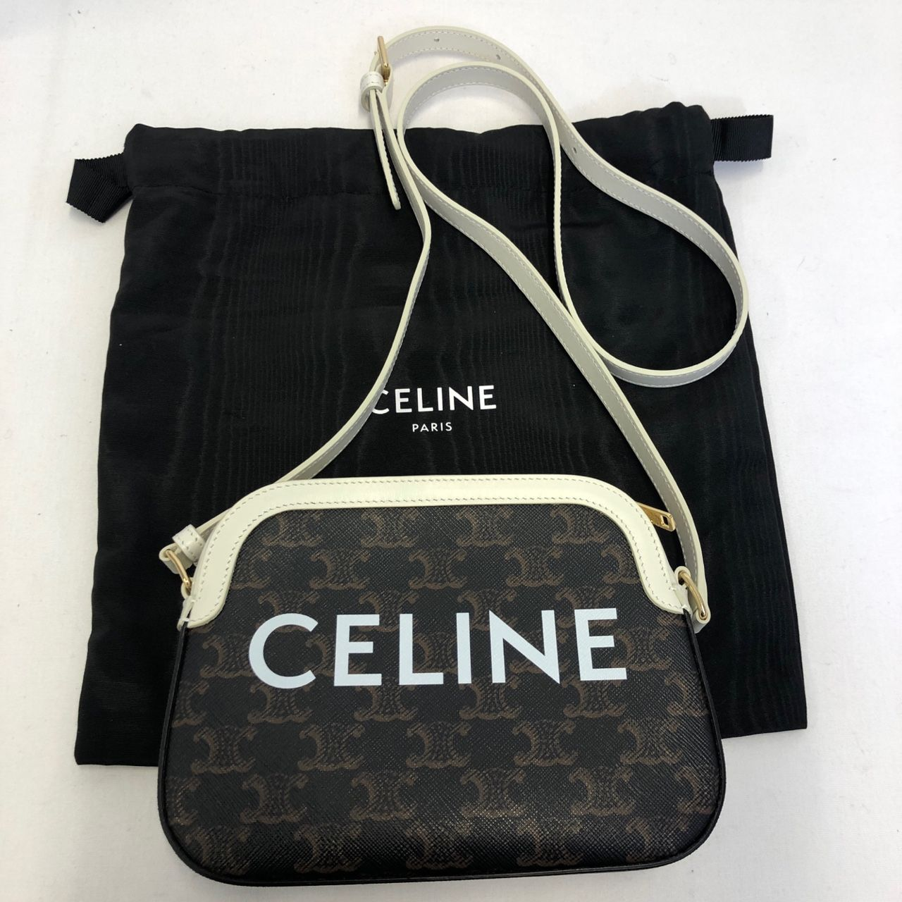 Small camera bag in Triomphe Canvas with Celine Print White 191522CIM.01BC_1_SUM20_644064v2